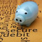 Piggy bank on secure text concept